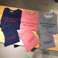 Burberry' Women Casual Fashion Embroidery Letter Long Sleeve Cotton Sweater Trousers Set Two Piece Sportswear