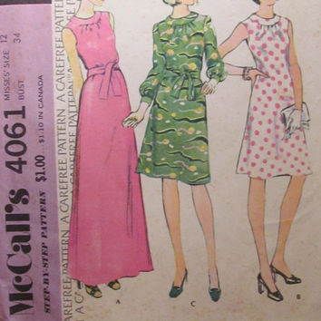 SALE Uncut 1970's McCall's Sewing Pattern, 4061! Size 12 Small/Medium/Women's/Misses/Knee Length Dress/Ankle Length/Sleeveless/Long SLeeves