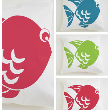 12x12 Crib pillow cover Set x3 -Cushion cover hand printed fishes Nautical baby decor