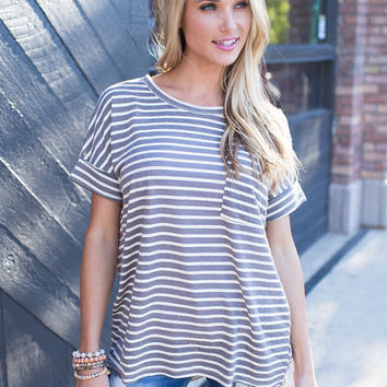 Slouchy Dolman Pocket Striped Tee Charcoal