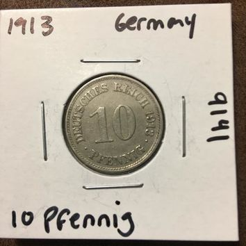 1913 German Empire 10 Pfennig Coin 9141