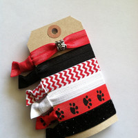 Elastic Hair Ties- Emi Jay Inspired- University of Georgia Bulldogs Sic Em-Set of 6 with Charm