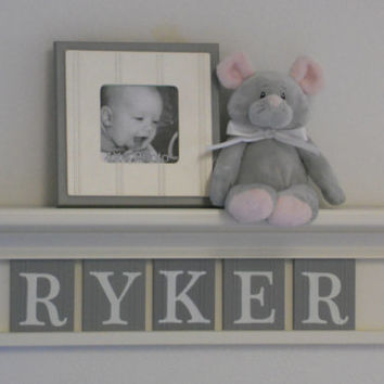 "Gray Nursery Wall Decor / Room Decor - Personalized for Baby RYKER on 24"" Linen White Shelf with 5 Grey Letter Plaques"