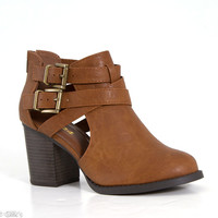 Soda Shoes Open Side Buckle Ankle Booties in Tan SCRIBE-S-TAN