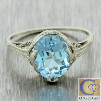 1930s Antique Art Deco 14k White Gold Filigree 2.00ct Aquamarine Cocktail Ring