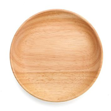 HOT!!!Beech Wood Entire Dessert Plate Round The Afternoon Tea Dishes Solid Wood Tableware Food Fruits Dish Wooden Service Plate