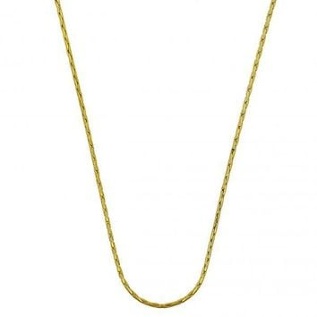 Gold Layered Basic Necklace, Long Box Design, Golden Tone
