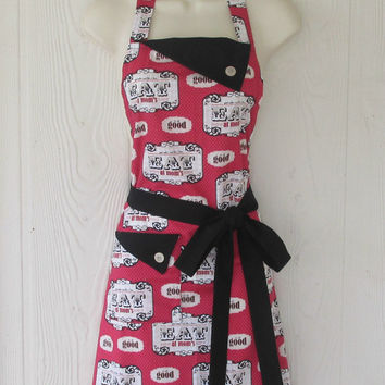 Eat at Mom's Apron / Vintage Style Kitchen Apron / Polka Dots / Red Black / Eclectasie