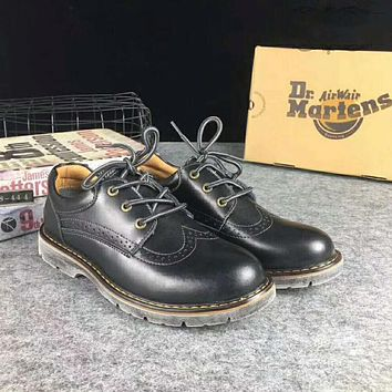 Hot Deal On Sale Crust Platform Shoes England Style Vintage Shoes Round-toe Dr. Martens Boots Black I-XYXY-FTQ