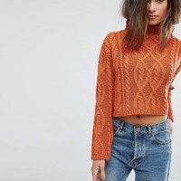 PrettyLittleThing Cable Knit Cropped Sweater at asos.com