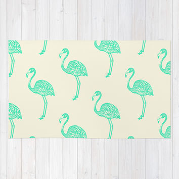 American Flamingo (green) Area & Throw Rug by The Wallpaper Files