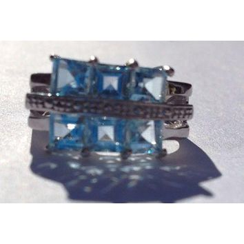 925 Silver Ring with Blue Topaz Stones Size 6 1/2 with 6 topaz Squares