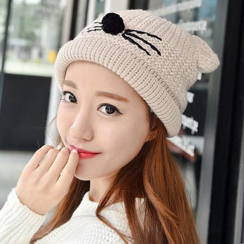 DCCKJG2 Fashion Autumn Winter Knitted Women Ladies Warm Fleece Lined Soft Nap Lined Cute Cat Whiskers Ears Skullies Beanies Hemming Hat