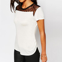 Short Sleeve Lace Accent T-Shirt