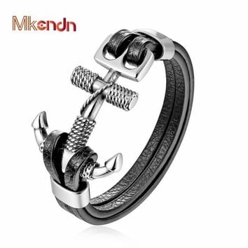 MKENDN New Fashion Men Anchor Bracelet Stainless Steel Double Wolf Shackles Black Leather