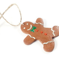 Gingerbread Man Ornament - Polymer Clay Gingerbread Man Christmas Ornament - Food Ornament - Stocking Stuffer  - Christmas Decor - Cute Gift
