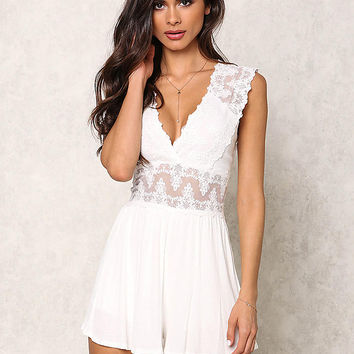 Ivory Plunge Embroidered Ribbed Knit Romper