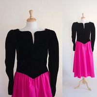 Vintage Party Dress / 80s Dress / 80s Party Dress / 80s Glam Dress / Velvet Dress