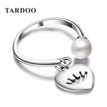 Tardoo Classic 925 Sterling Silver Adjustable Women's Rings Pearls Romantic Heart Charms Cuff Rings Crown pearls Jewelry