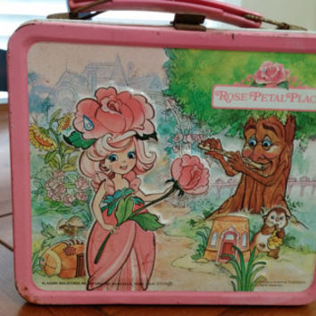 Vintage 1980s Rose Petal Place Metal Aladdin Lunchbox by Mattel with Thermos