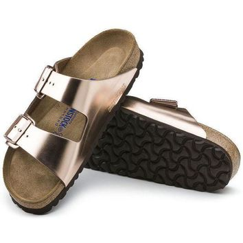 DCCK1 Birkenstock Arizona Soft Footbed Leather Metallic Copper 752723 Sandals