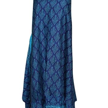 Women's Magic Wrap Skirt Blue Reversible PREMIUM Silk blend Halter Dress