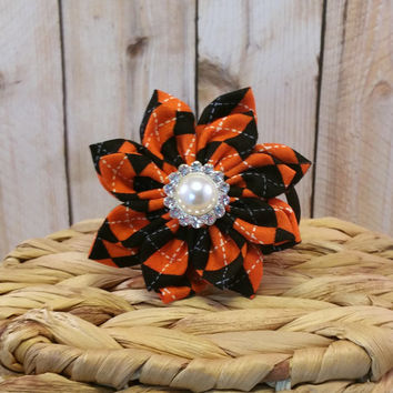 Halloween Argyle // Dog Collar Flower // Halloween // Autumn // Holiday // Fabric Flower // Collar Accessory // Hair Accessory // Plaid