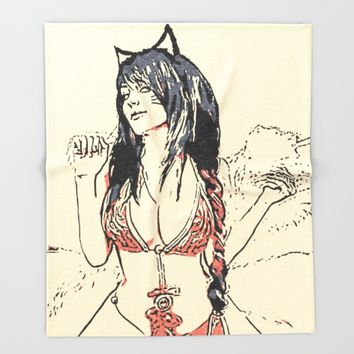 Sexy cat girl, kinky posing in erotic lingerie, hot furry woman, naughty costume cosplay Throw Blanket by Peter Reiss