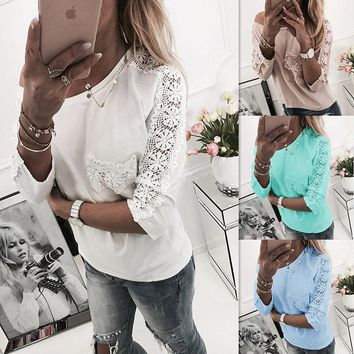 Women'S Solid Color Long-Sleeved T-Shirt