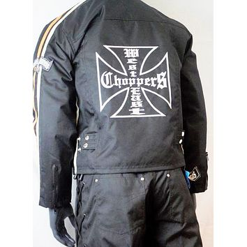MOTORCYCLE All WEATHER chopper JACKET ORANGE  CHEST SIZES 44