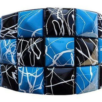 Black and Blue Crack line Checkered Studded Black Leather Bracelet-Brand New!