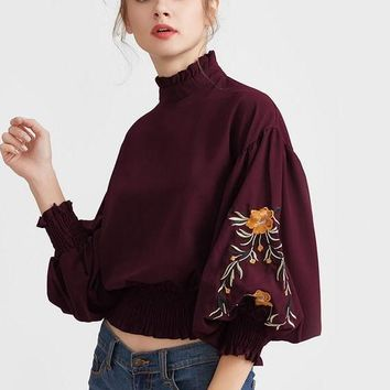 Embroidery Elegant Blouse Vintage Shirred Tops Autumn Women Lantern Sleeve Tops Burgundy Ruffle Zip Back Blouse