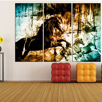 horses running wall art for living room Extra large wall art Abstract canvas print, abstract animal art print large canvas art zm02