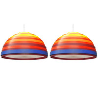 Pair Of Colorful Ceiling Fixtures Signed Vest Made In Austria Circa 1960