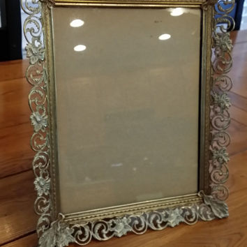 Vintage Ornate Gold Toned Hollywood Regency Style Picture Frame With Velvet Back Great Mother's Day Wedding House Warming Gift