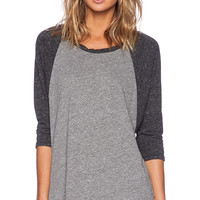 Michael Lauren Michael 3/4 Sleeve Raglan Tee in Gray