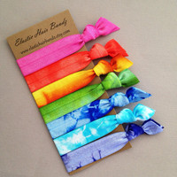 The Spring Hair Tie-Ponytail Holder Collection - 7 Hand Tie Dyed Hair Ties by Elastic Hair Bandz on Etsy