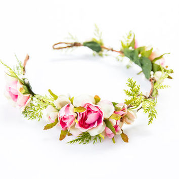 blossom and leaf bridal wedding flower hair wreath // Fleur - pink / rose berry greenery nature floral headpiece flower crown