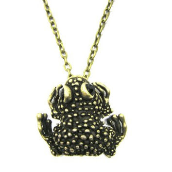 Bumpy Toad Necklace Crystal Eyes Vintage Frog NB23 Antique Gold Tone Animal Pendant Fashion Jewelry