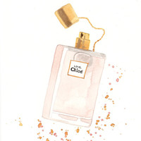 Chloé Love Eau Florale Parfum Fragrance - Watercolor Perfume Bottle Illustration