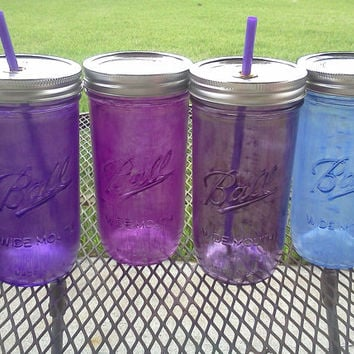 Ball Mason Jar Sippy Tumbler - - CHOOSE YOUR COLOR - Shades of Purple  - 24 oz Tumbler - Weddings - Baby Showers - Bachelorette Party