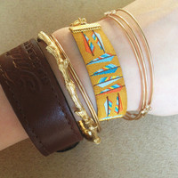 Native American Feather Reversible Half & Half Gold Chain Bracelet