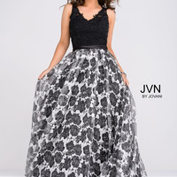 JVN by Jovani Lace Bodice with Full Floral Skirt Dress