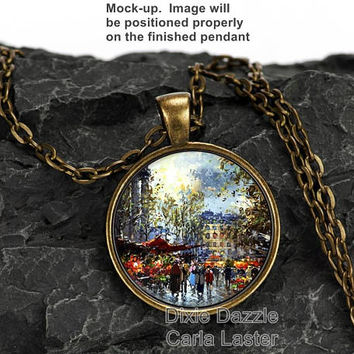Vintage Paris street Art pendant, city of light, French Impressionist art, Edouard Cortes reproduction, shop small, shop local TN