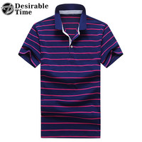 Mens Short Sleeve Polo Shirts M-3XL 2017 New Arrival Contrast Color Summer Style Red Striped Polo Shirts for Men DT493