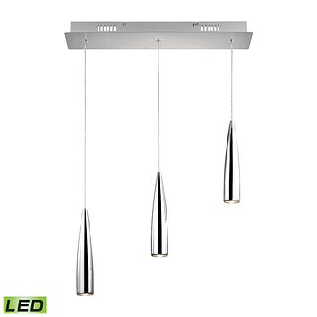 Century 3-Light Linear Pendant Fixture in Chrome with Chrome Metal Shades - Integrated LED