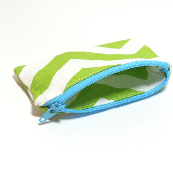 Green Coin Purse - Green and Aqua - Cute Coin Purse - Chevron Change Purse - Coin Zipper Pouch - Party Favors - Purse Accessory - Small Bag