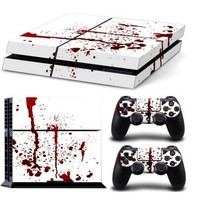 PS4 Console Designer Skin Sticker Cover Film for Sony PlayStation 4 System+2 Decals for PS4 Dualshock Controller Red White