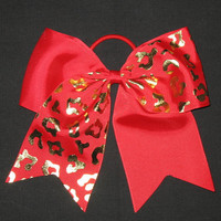 "NEW ""GOLD CHEETAH Red"" Tick Tock Cheer Bow Pony Tail 3 Inch Ribbon Girls Cheerleading Dance Practice Football Games Elastic Competition"