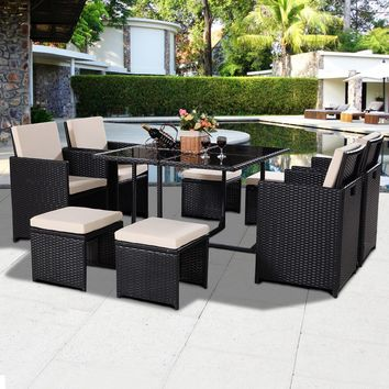 Giantex 9 PCS Black Patio Garden Rattan Wicker Sofa Set Modern Outdoor Furniture Set Cushioned with Ottoman Chairs HW52375+